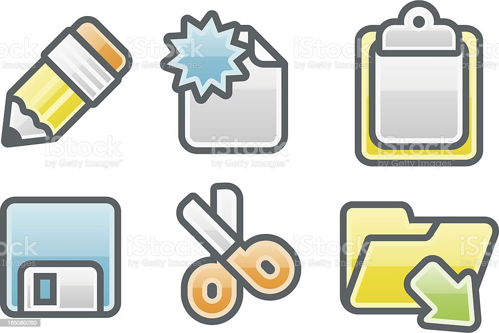 clean glossy icons: toolbar royalty-free stock vector art