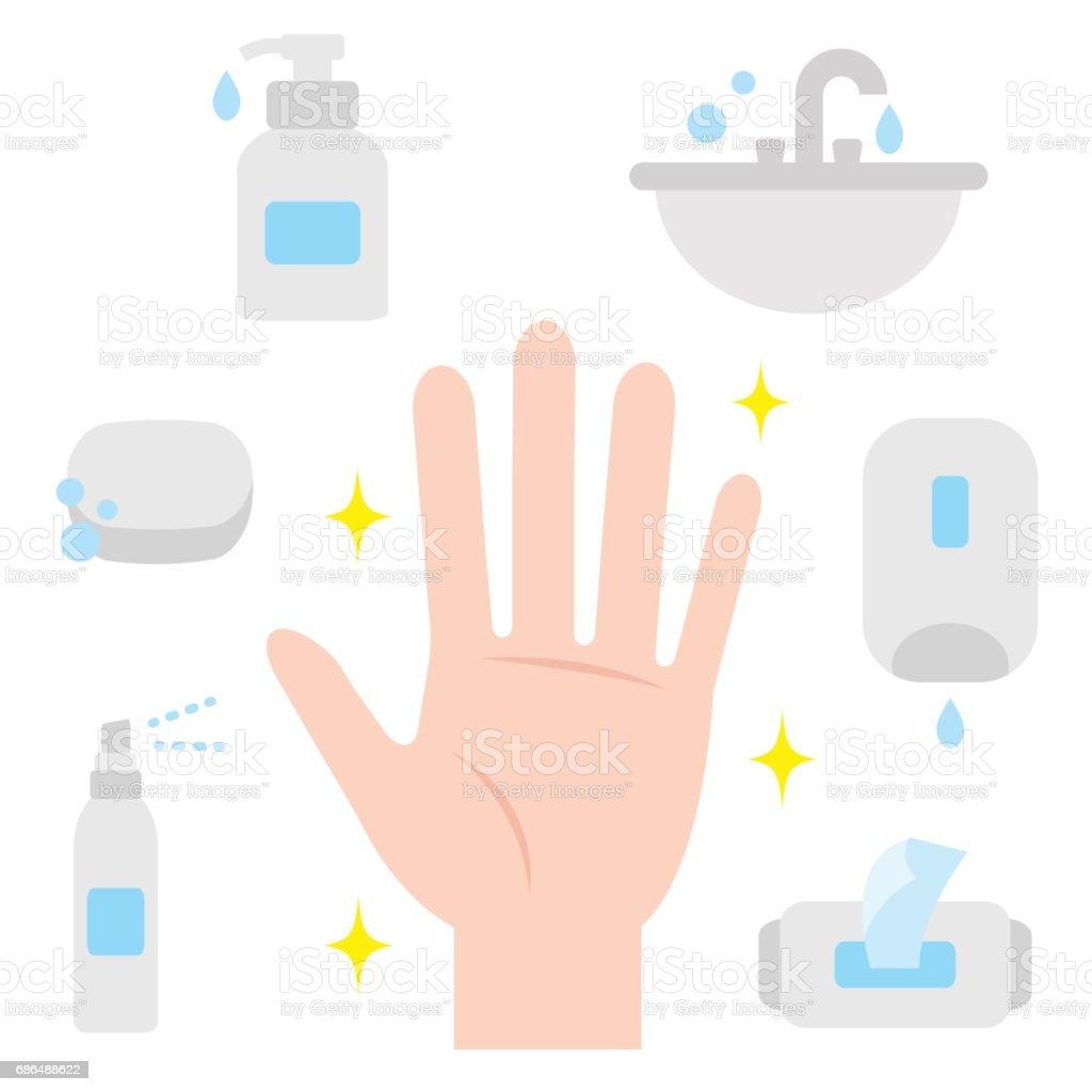 clean human hand. hand hygiene vector art illustration