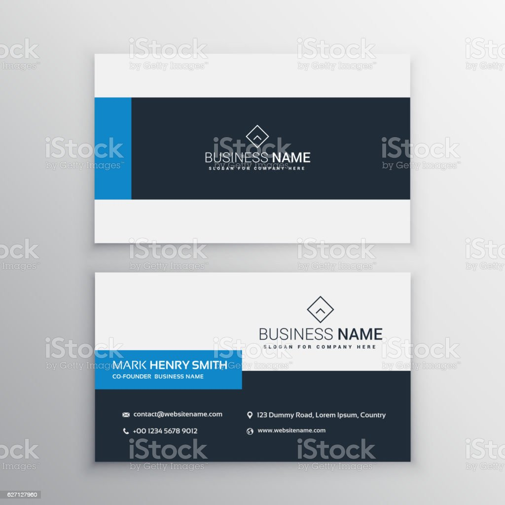 clean minimal business card template vector art illustration