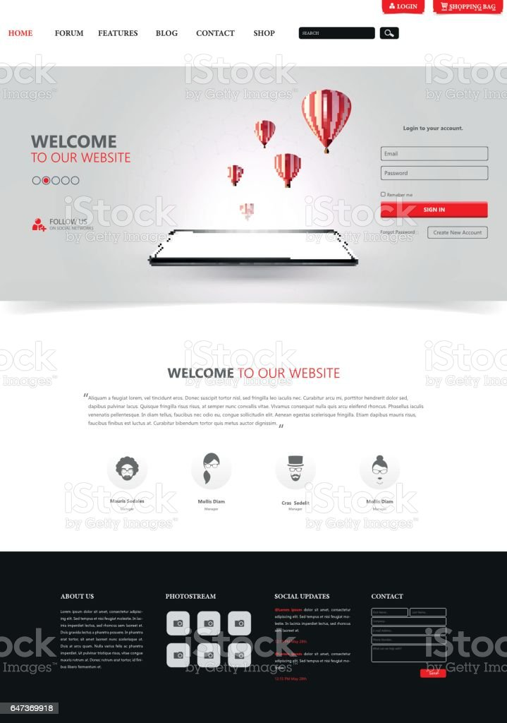 Clean Modern Website Interface Template, Vector Illustration. vector art illustration