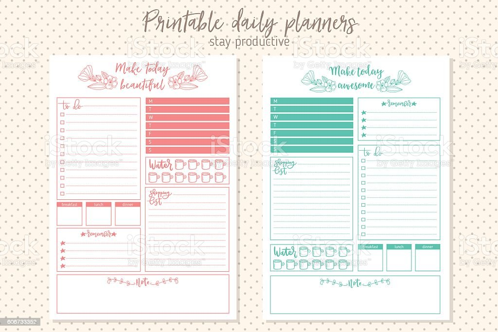 Clean style daily planner vector template. Stationery Design vector art illustration