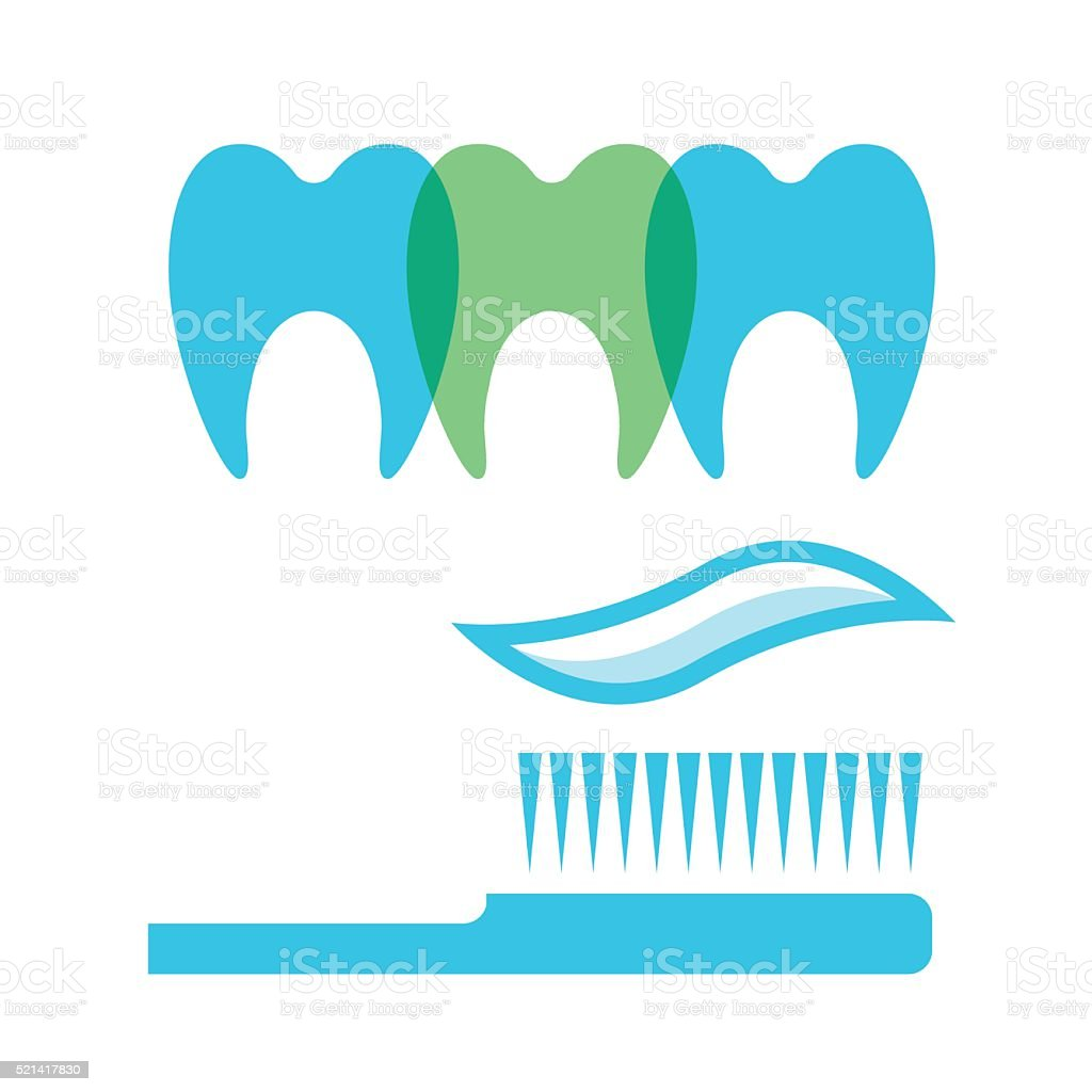 Clean Teeth And Tooth Brush Illustration - VECTOR vector art illustration