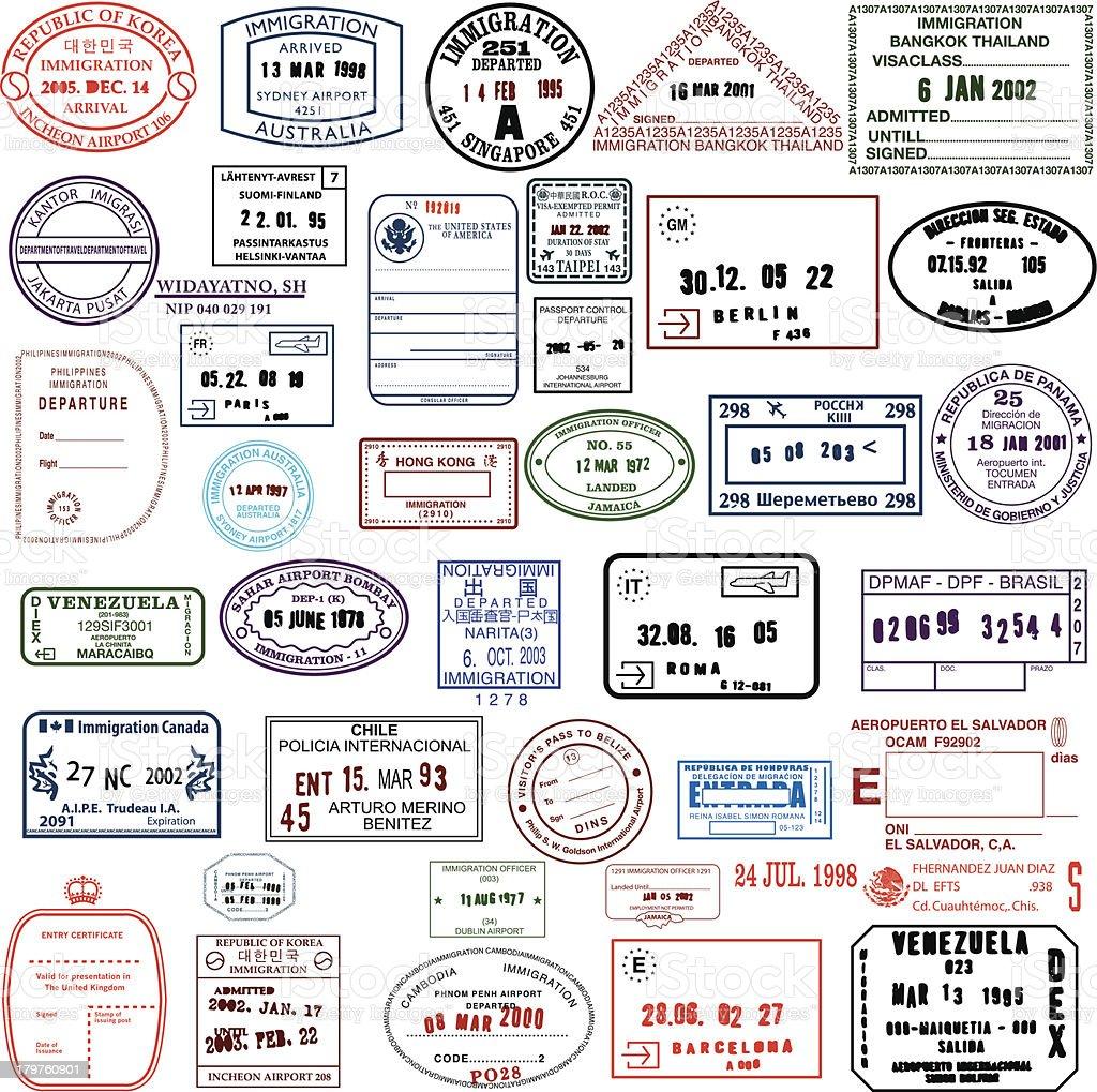 Clean Travel Stamps vector art illustration