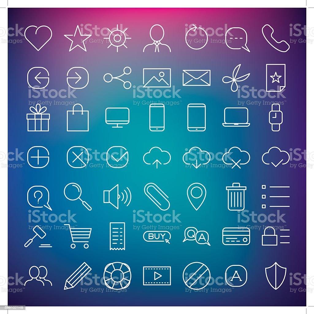clean web icon set vector art illustration