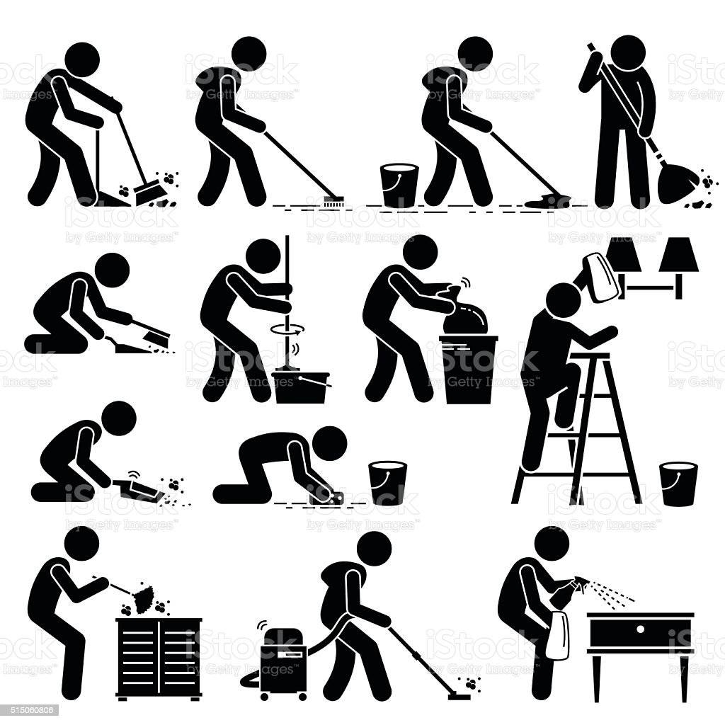 Cleaner Cleaning and Washing House Pictogram vector art illustration