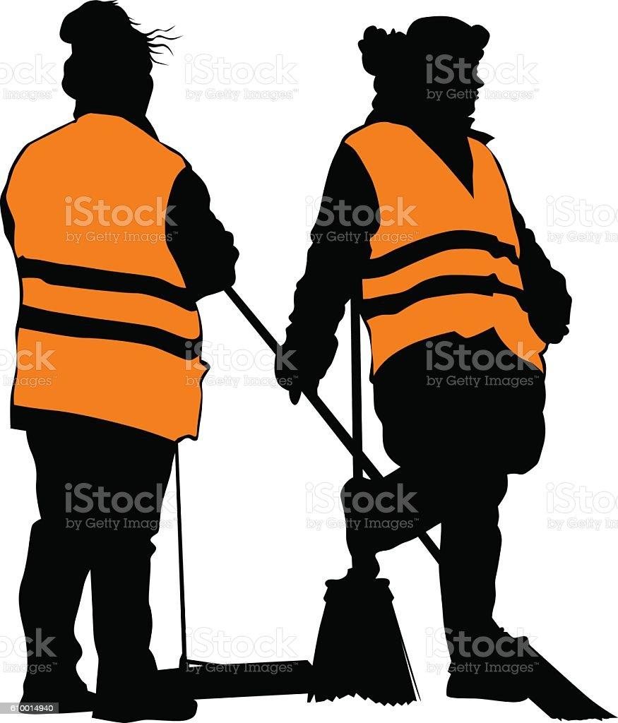 Cleaners women in vest vector art illustration