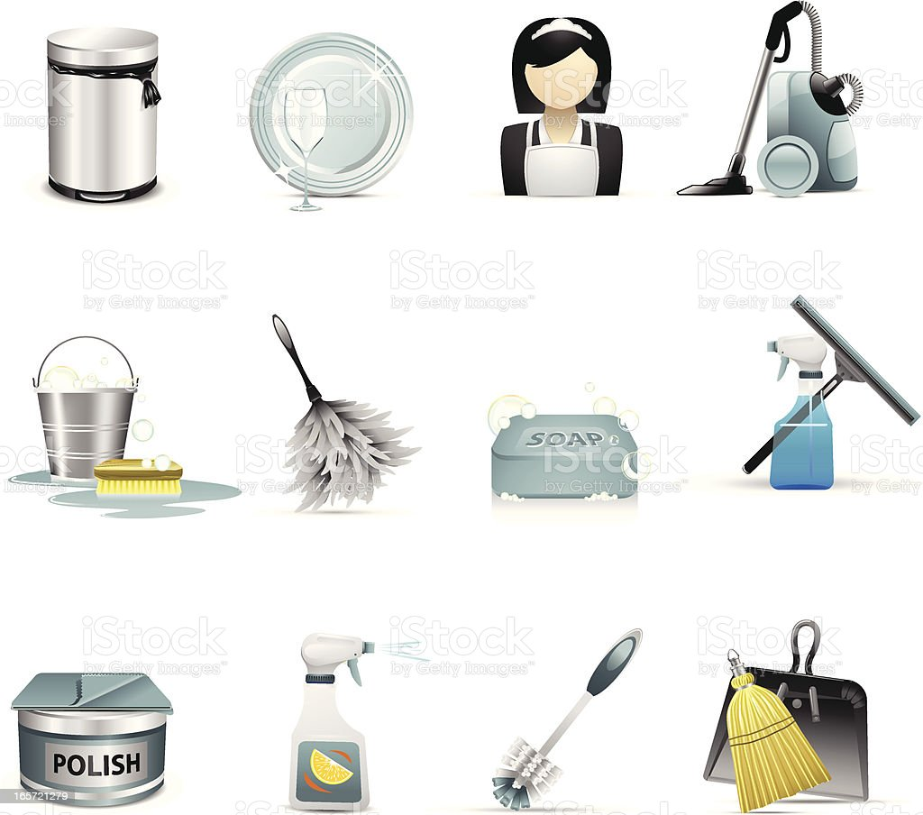 Cleaning and Housekeeping Icons vector art illustration
