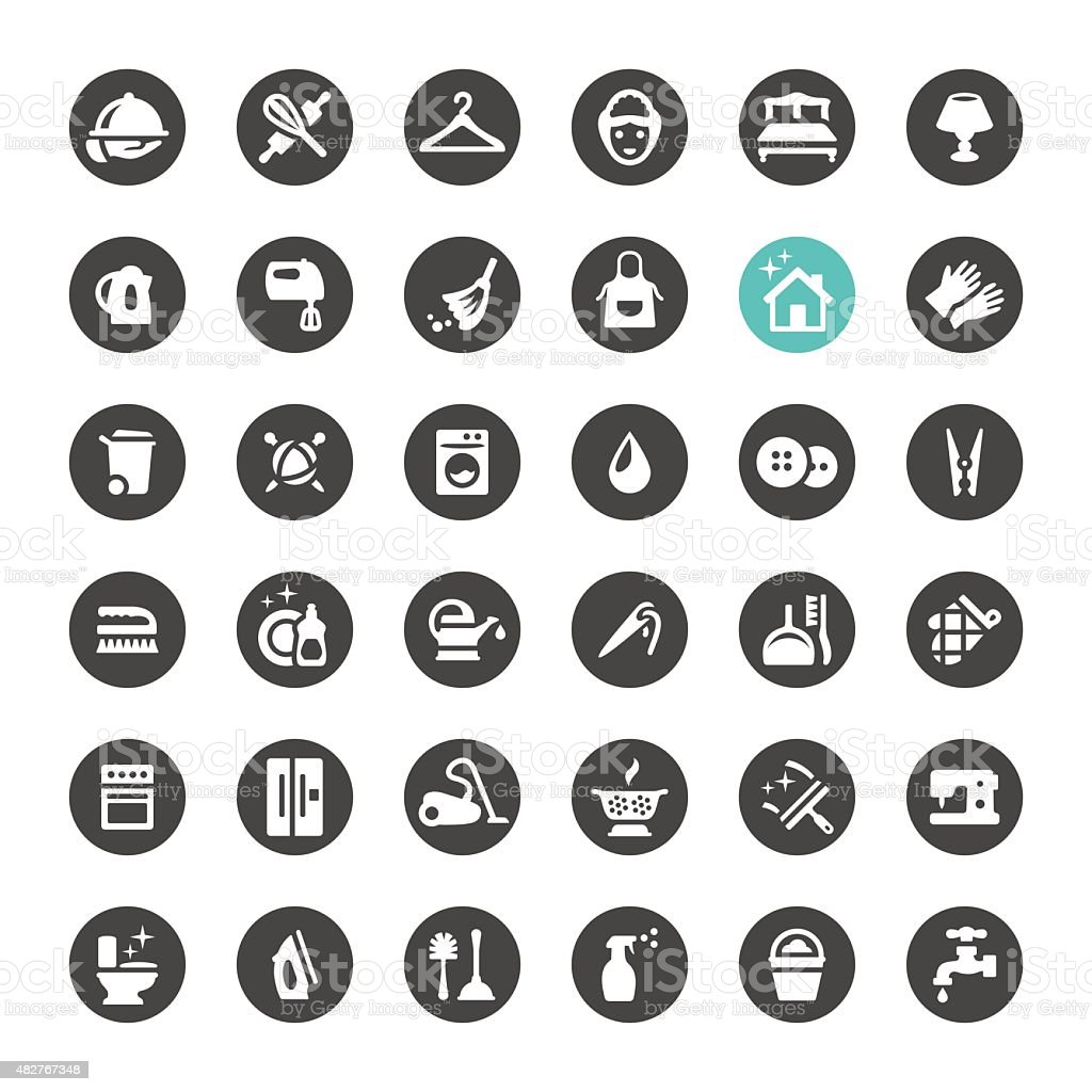 Cleaning and Housework vector icons vector art illustration