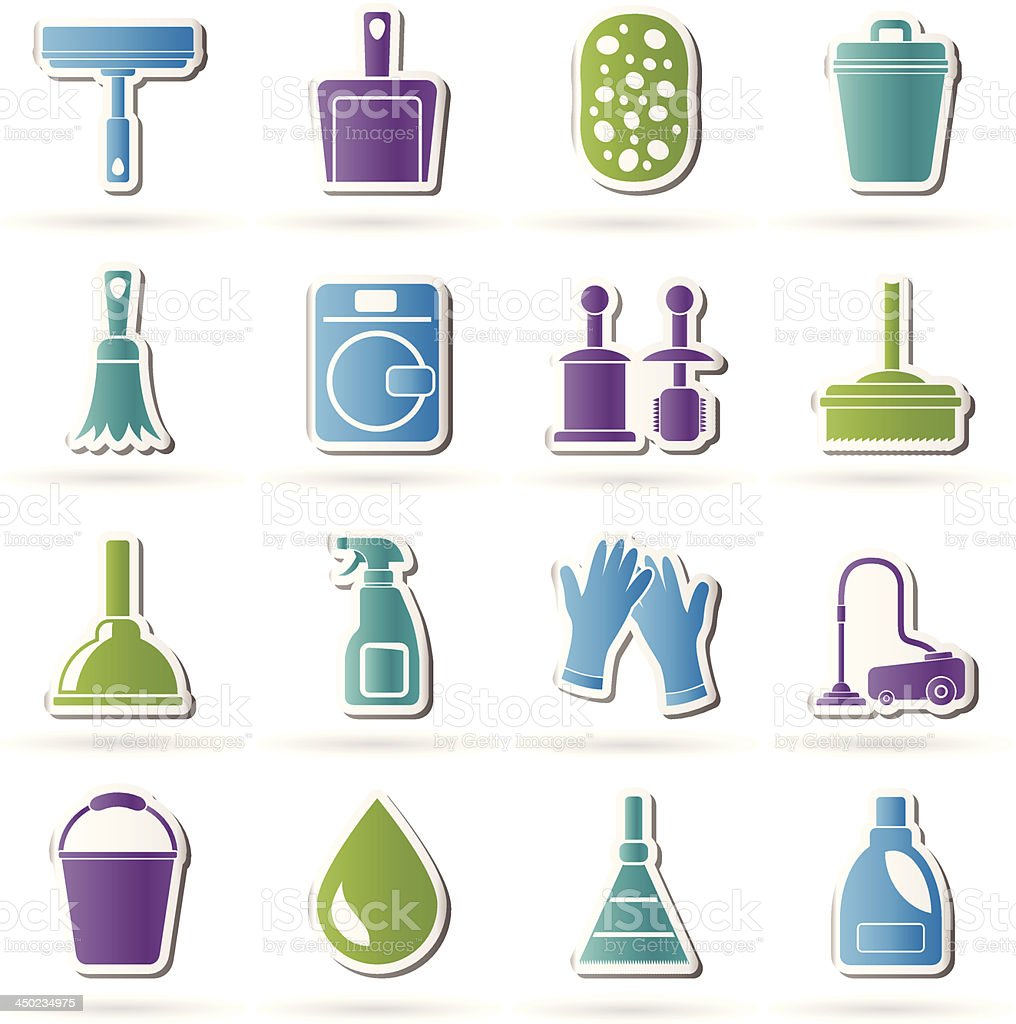 Cleaning and hygiene icons royalty-free stock vector art