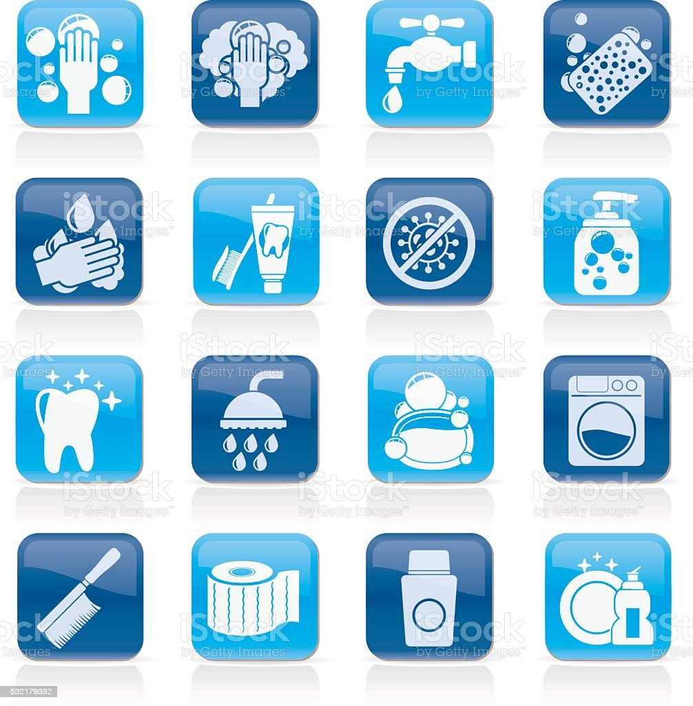 Cleaning and hygiene icons vector art illustration