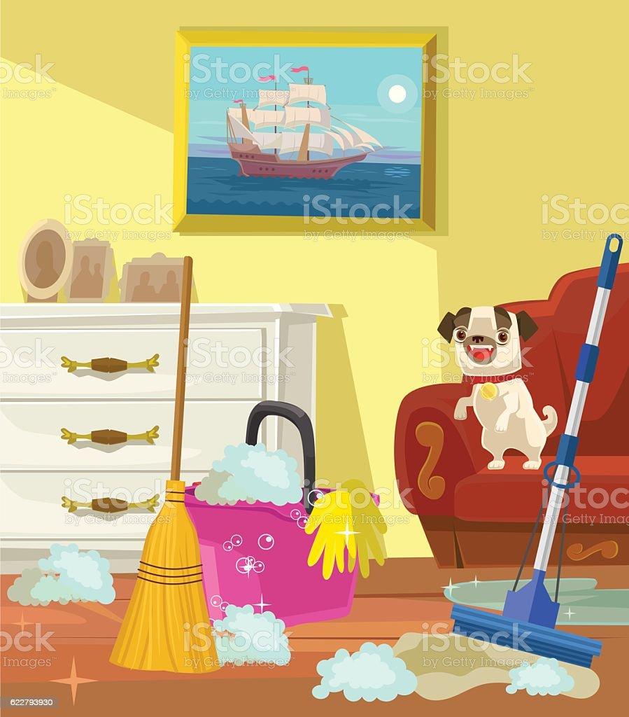 Living Room Vector Flat Cartoon Illustration Royalty Free Stock Art