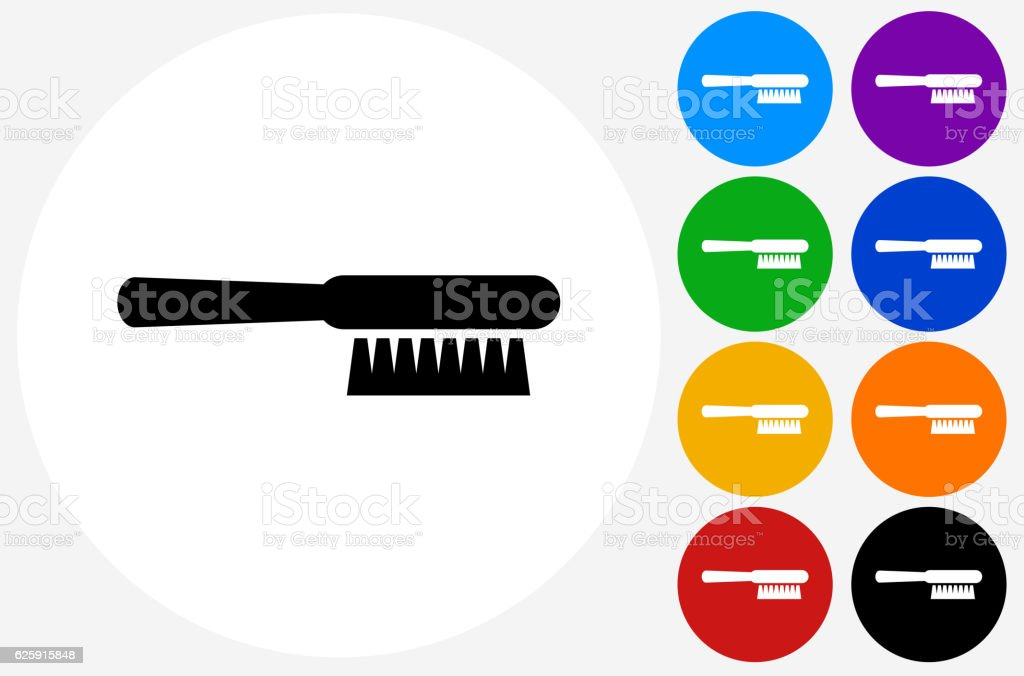 Cleaning Brush Icon on Flat Color Circle Buttons vector art illustration