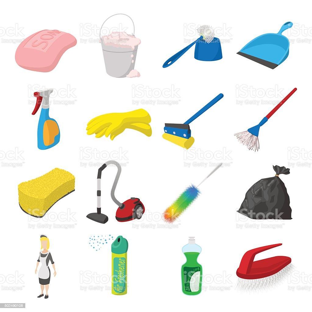Cleaning Cartoon Icons stock vector art 502490106 | iStock