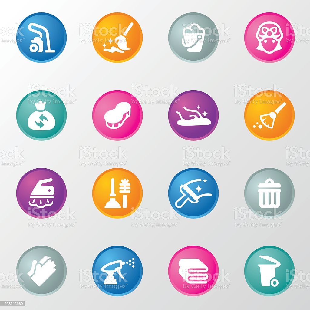 Cleaning Circle Color Icons vector art illustration