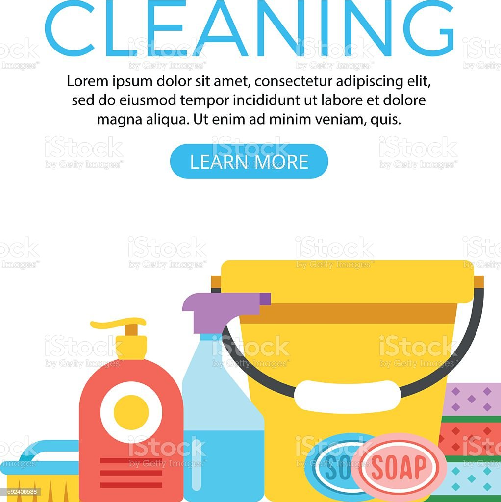 Cleaning concept web banner. Cleaning supplies, products. Flat vector illustration vector art illustration