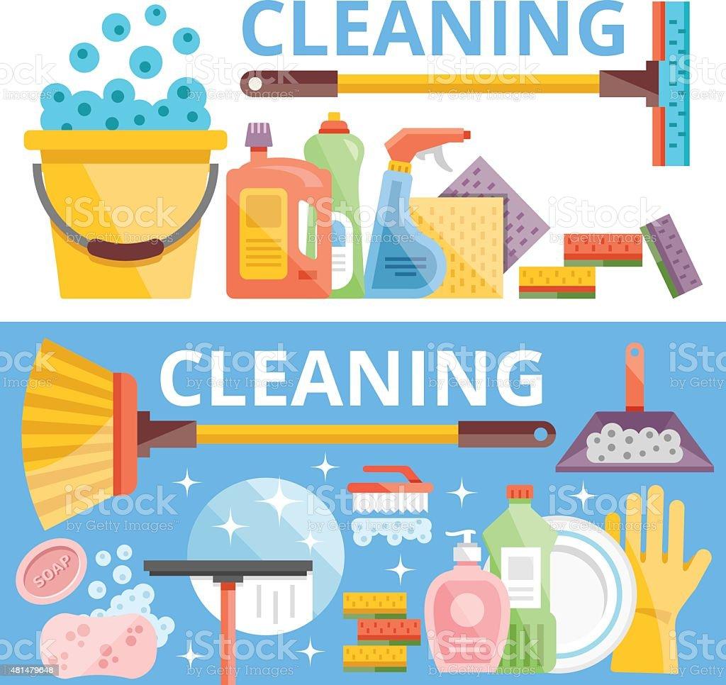 Cleaning flat illustration concepts set vector art illustration