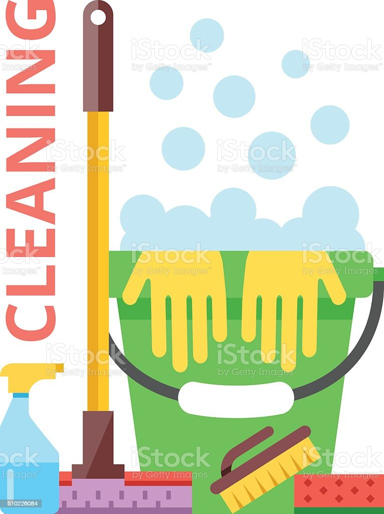 Cleaning flat illustration. Spring cleaning and cleaning service concept vector art illustration