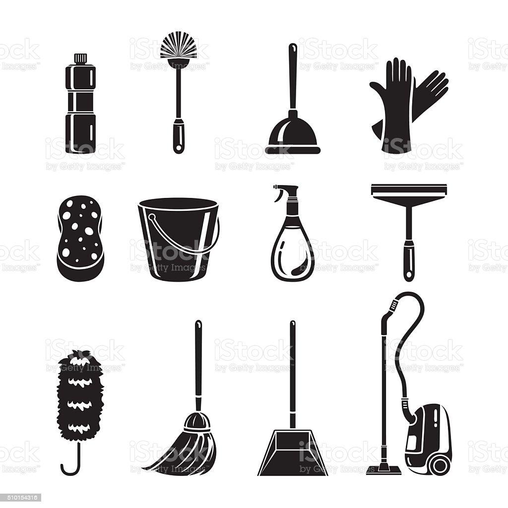 Cleaning, Home Appliances Icons Set, Monochrome vector art illustration