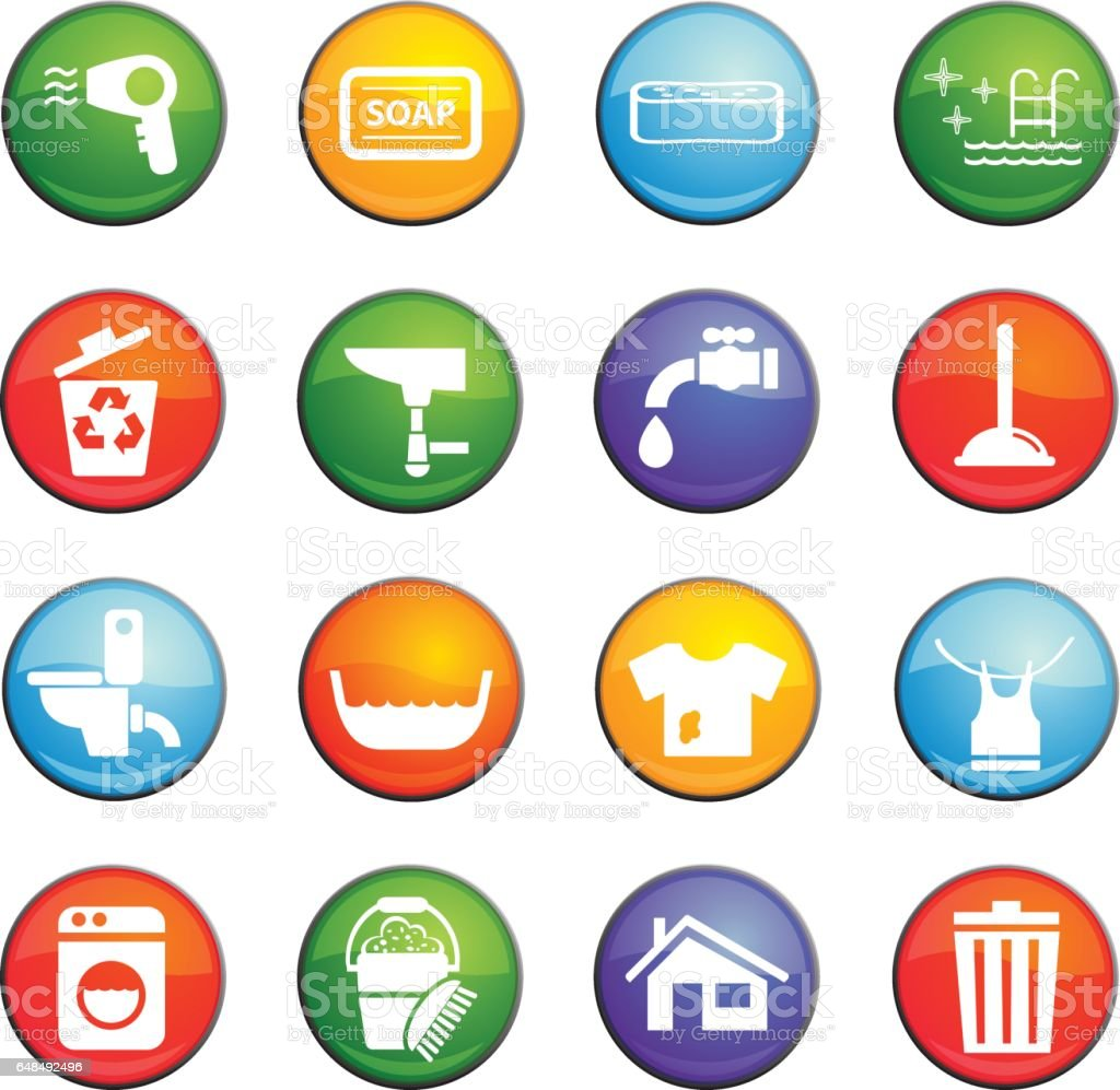 cleaning icon set vector art illustration