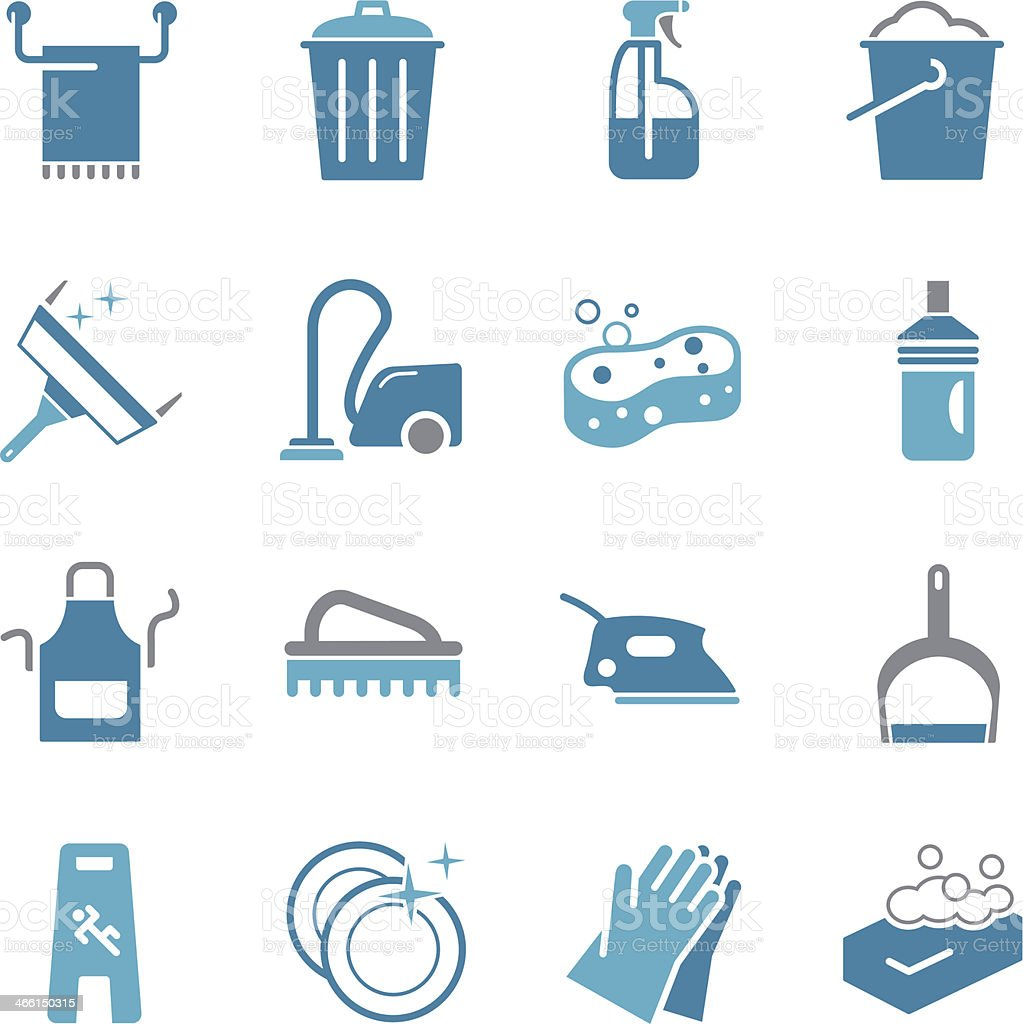 Cleaning Icons - Color vector art illustration