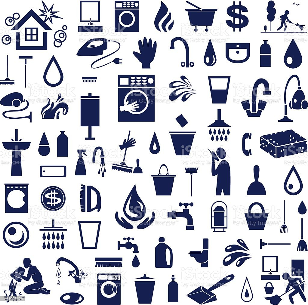 cleaning icons on white vector art illustration