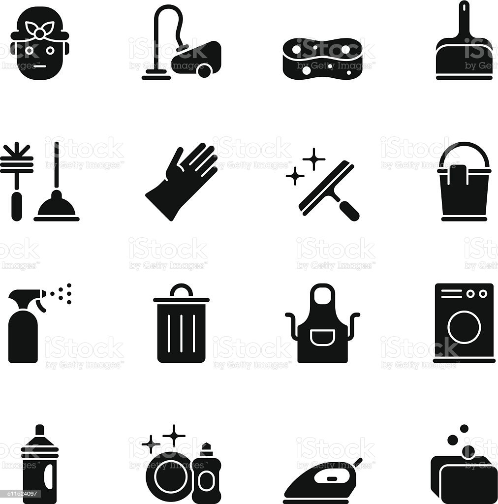 Cleaning icons - Regular Black vector art illustration