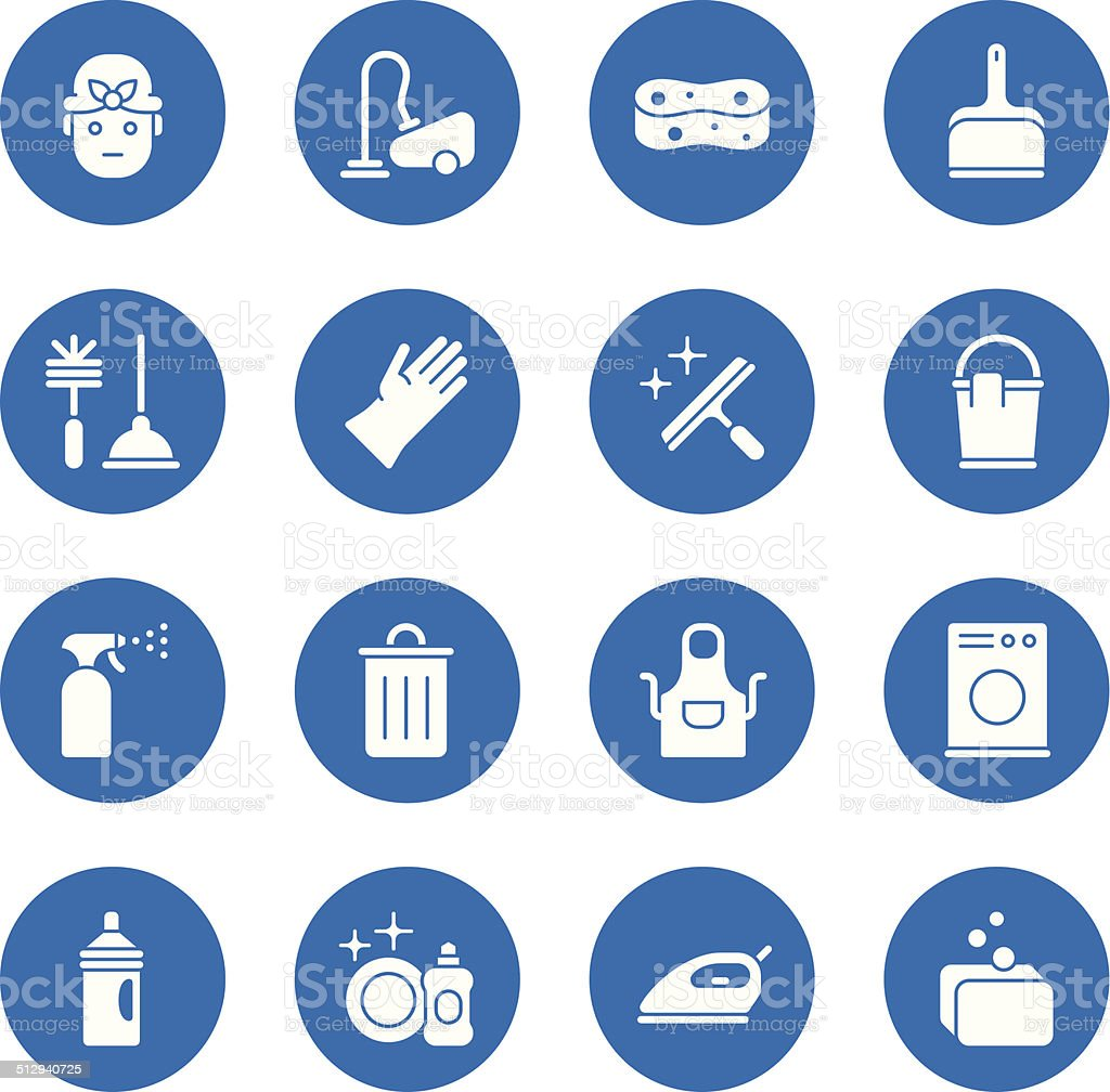 Cleaning icons - Regular - Circle vector art illustration