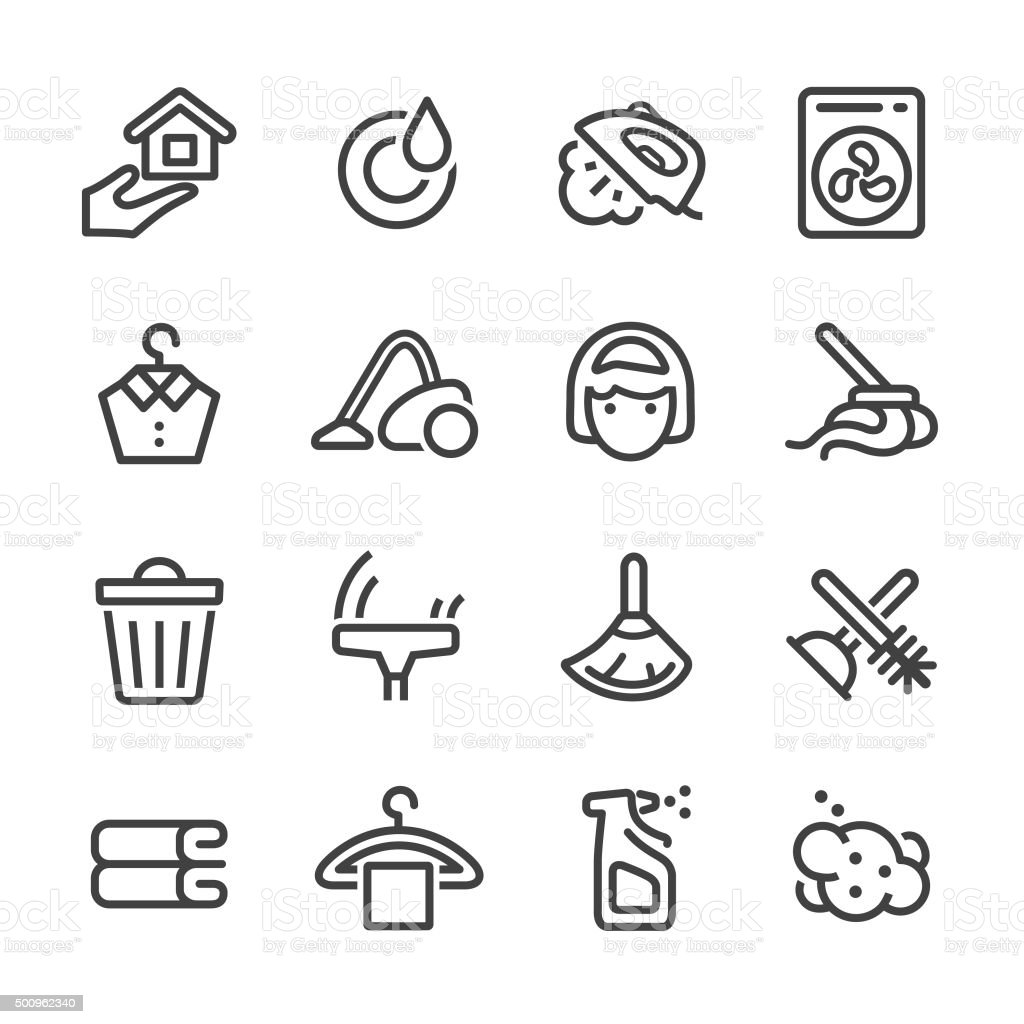 Cleaning Icons Set - Line Series vector art illustration