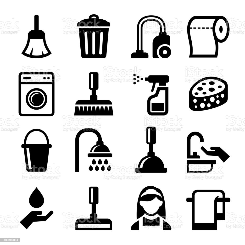 Cleaning Icons Set on White Background. Vector vector art illustration