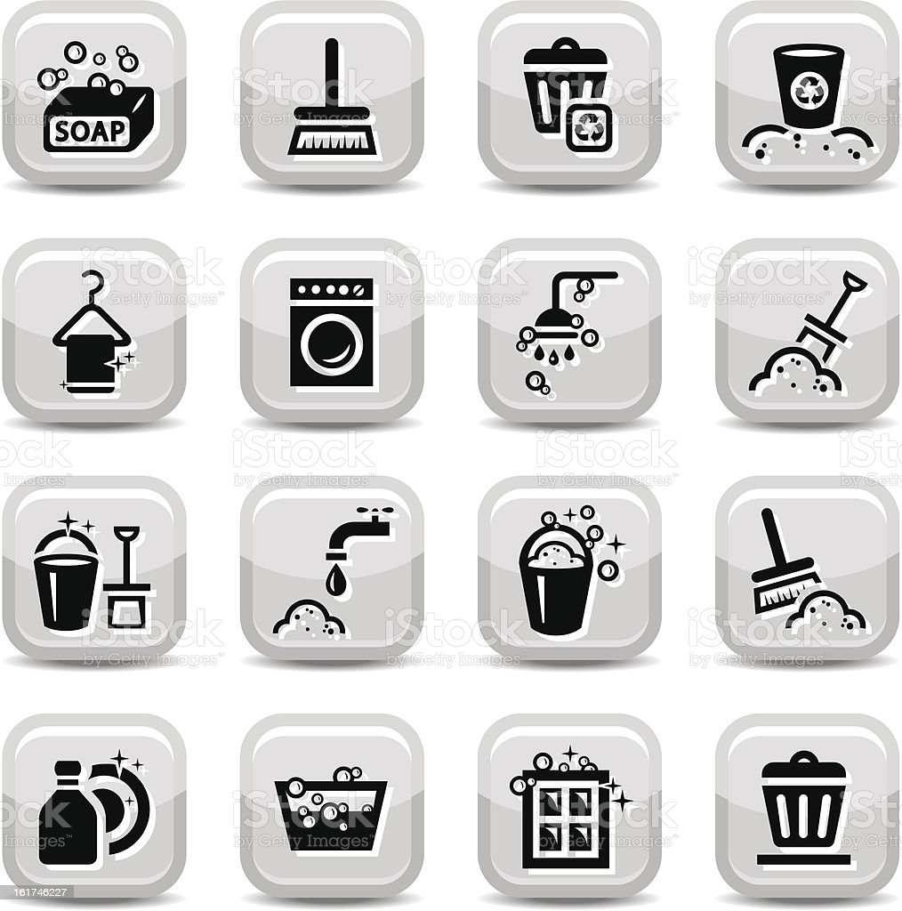 cleaning icons set royalty-free stock vector art