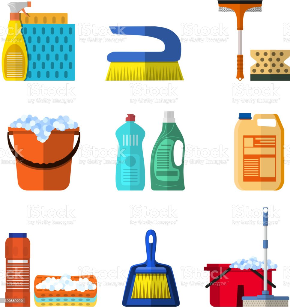 Cleaning icons set with mop soap and gloves vector art illustration