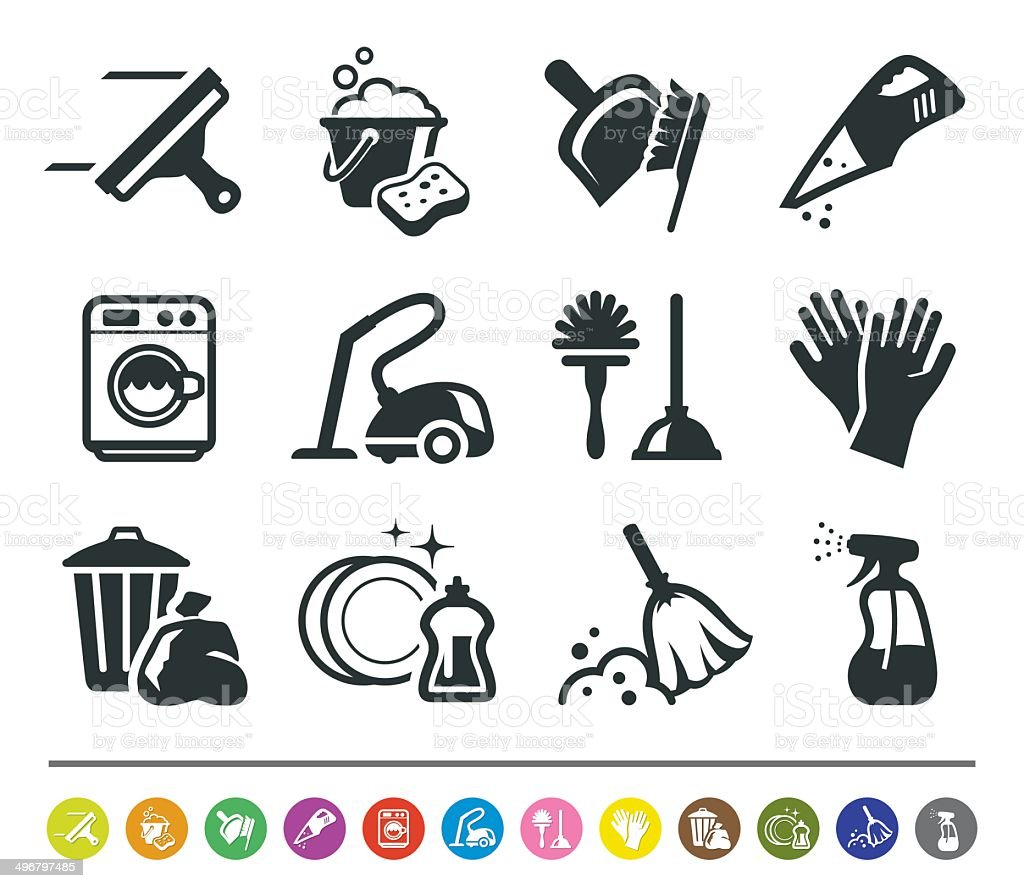 Cleaning icons   siprocon collection vector art illustration