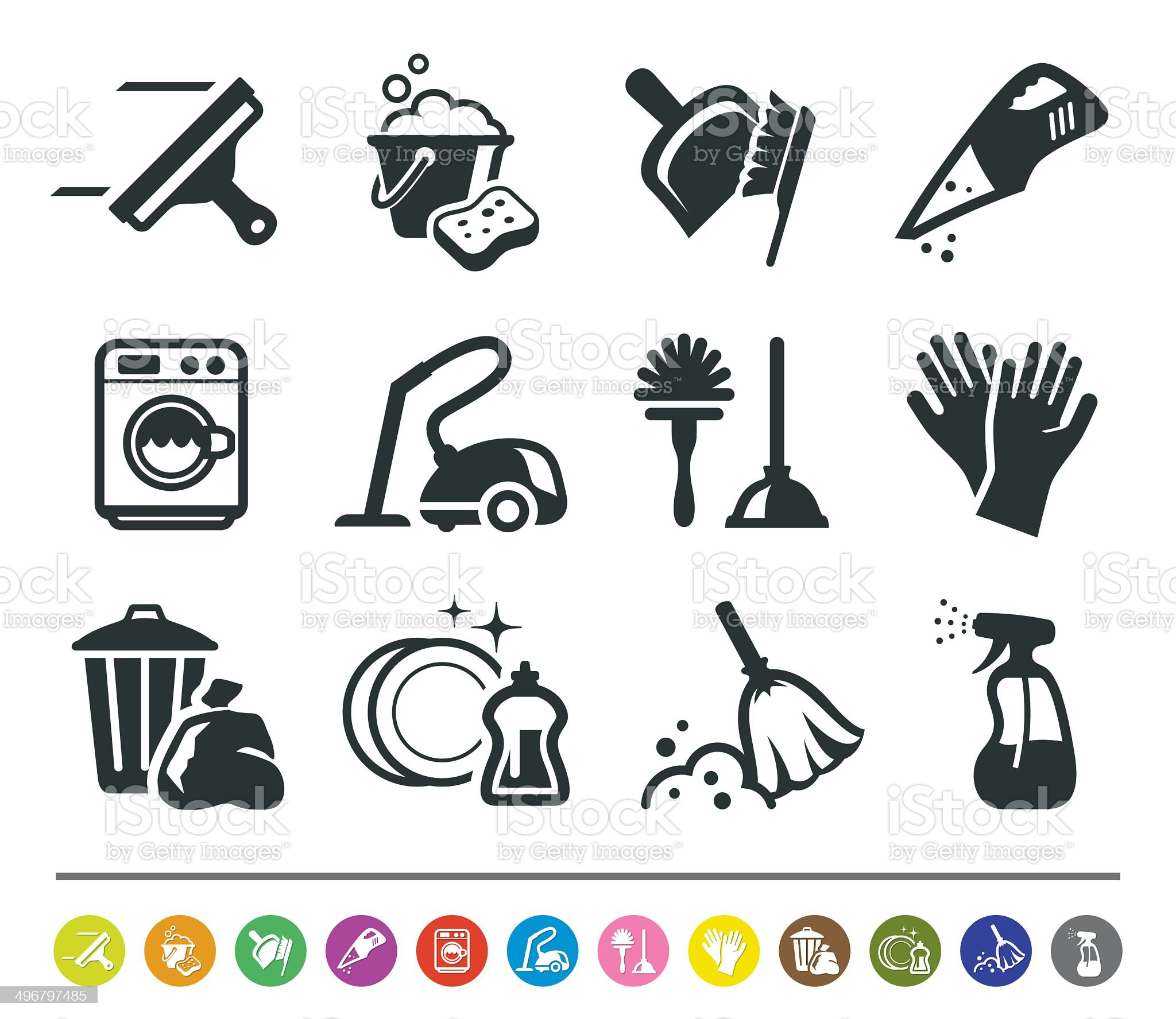 Cleaning icons   siprocon collection royalty-free stock vector art