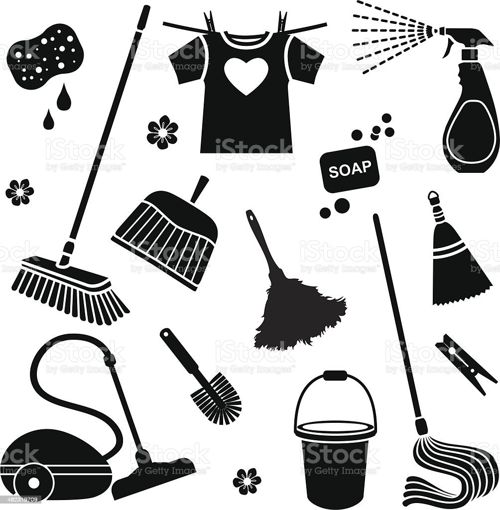 cleaning icons vector art illustration