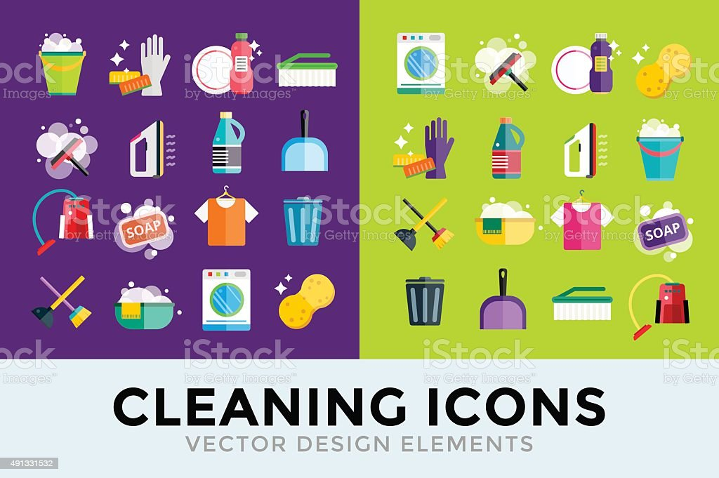 Cleaning icons vector set clean service vector art illustration