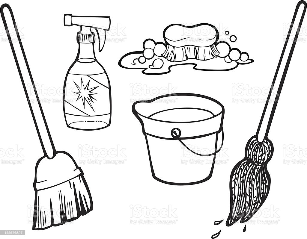 Cleaning Items Line Art royalty-free stock vector art