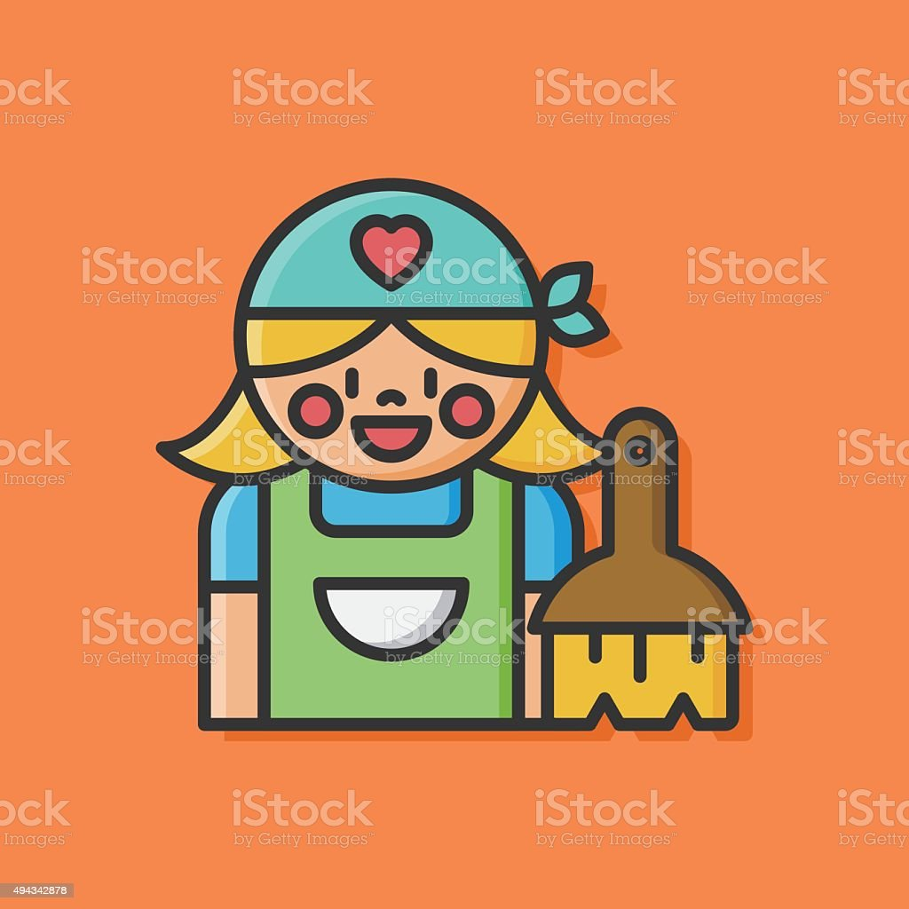 cleaning lady icon vector art illustration