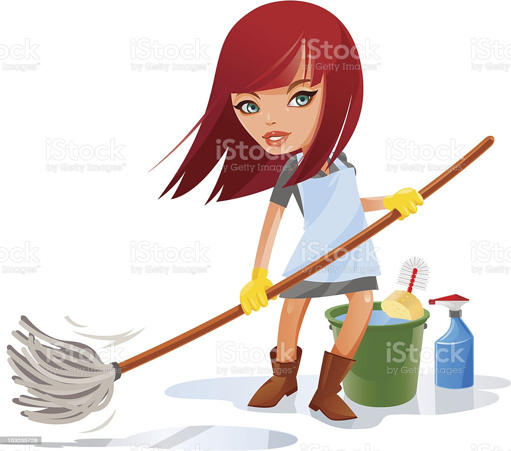Cleaning lady vector art illustration