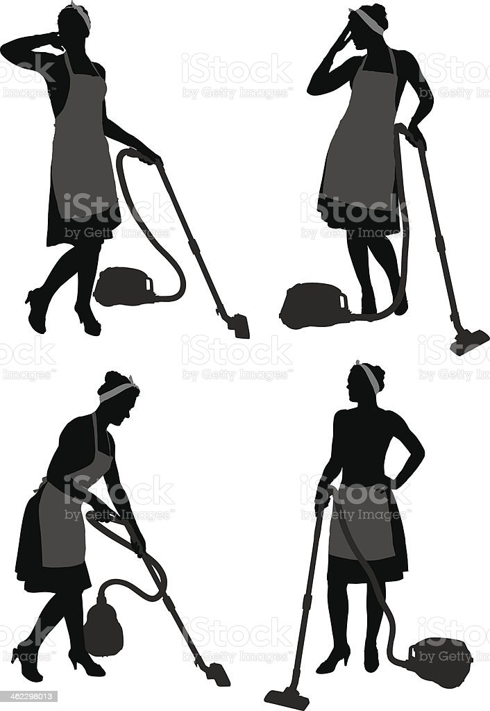 Cleaning Lady With Vacuum Cleaner vector art illustration
