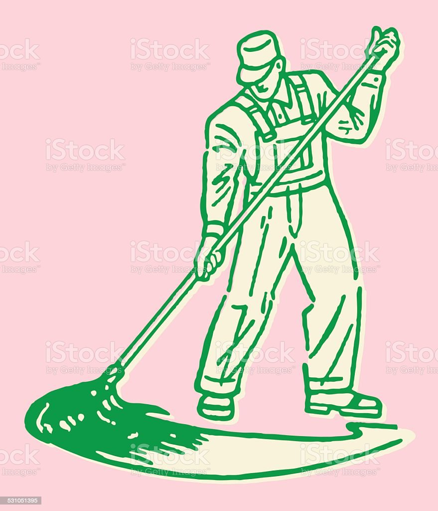 Cleaning Man Mopping vector art illustration