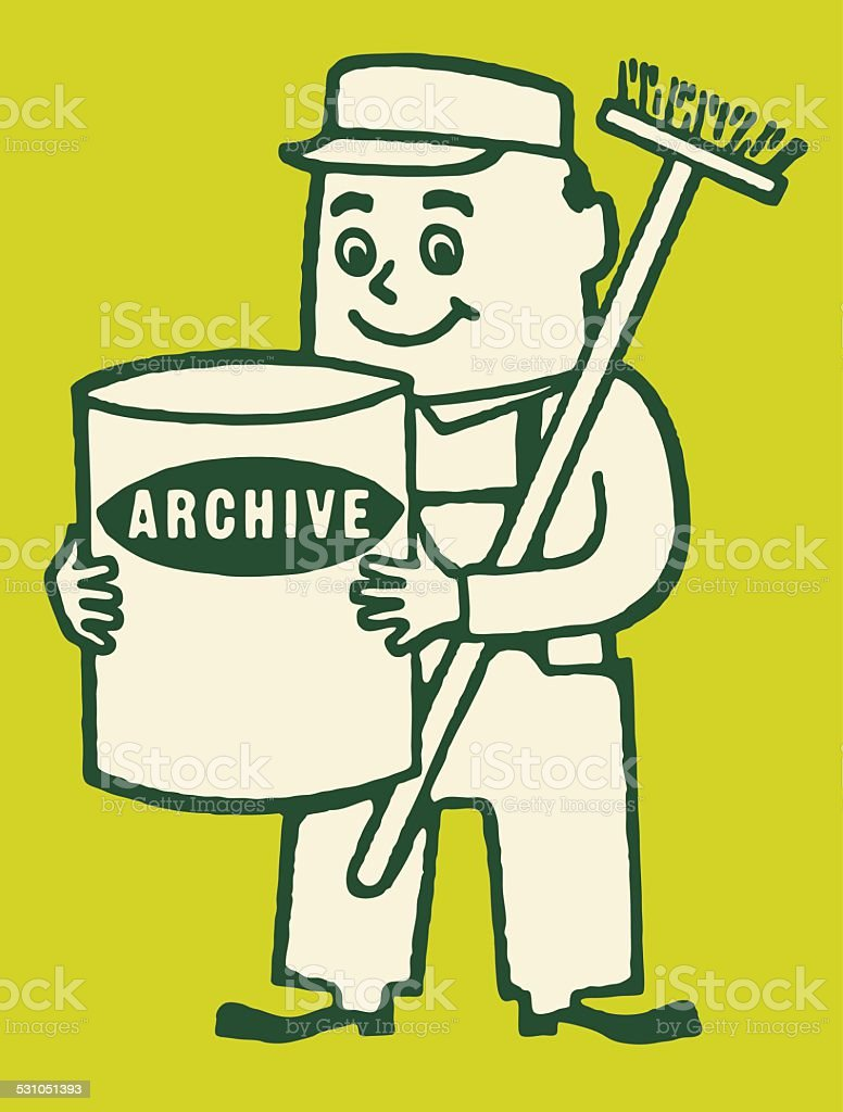 Cleaning Man with Archive Solution and Broom vector art illustration