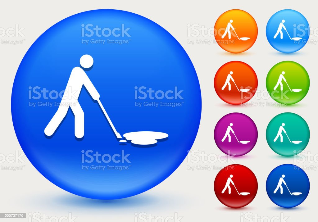 Cleaning Oil Spill Icon on Shiny Color Circle Buttons vector art illustration