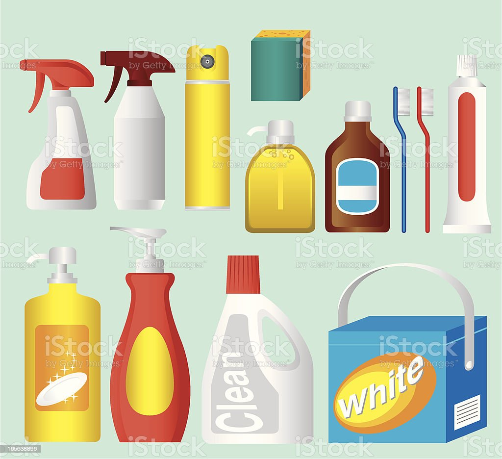 Cleaning Product Packaging vector art illustration