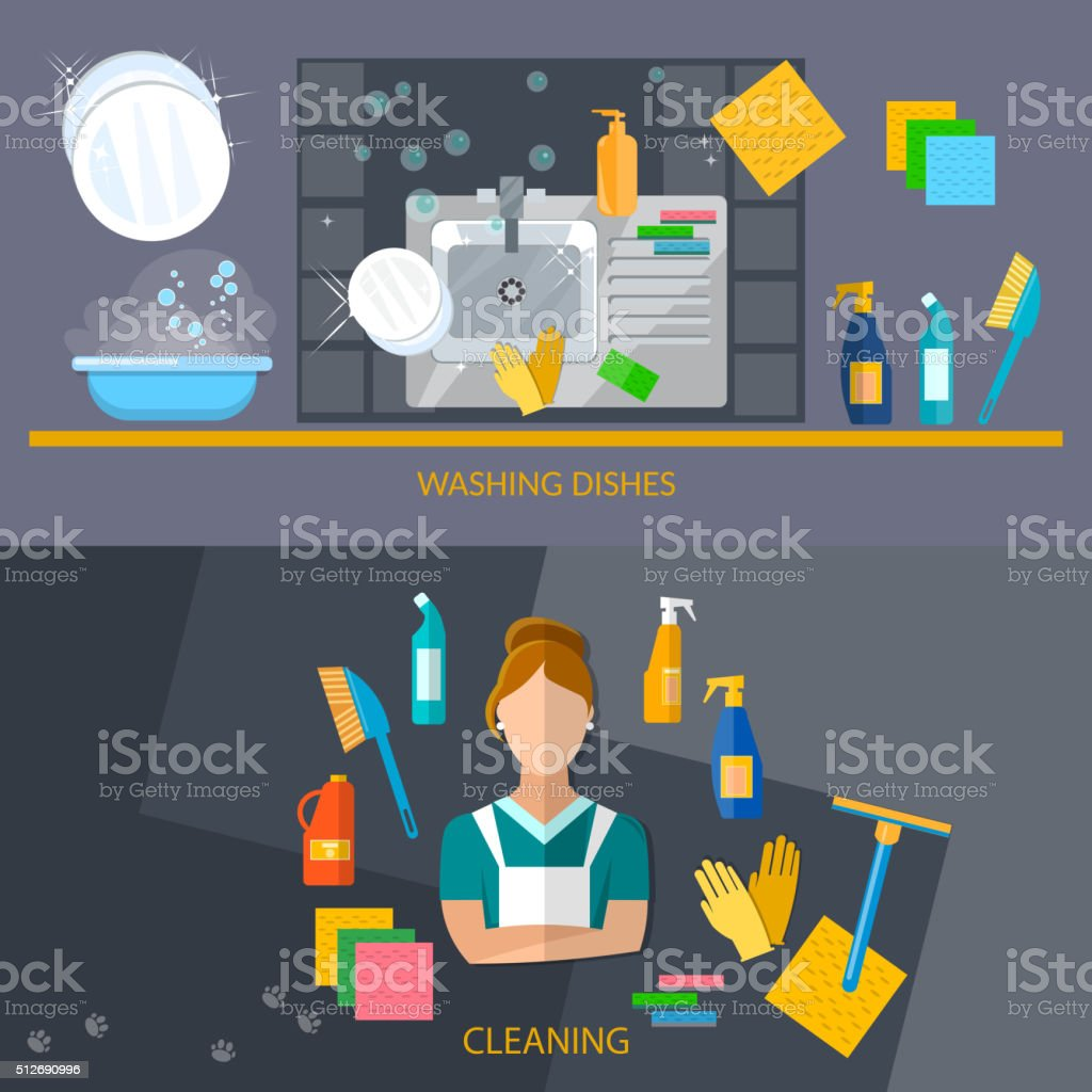Cleaning service banners vector art illustration