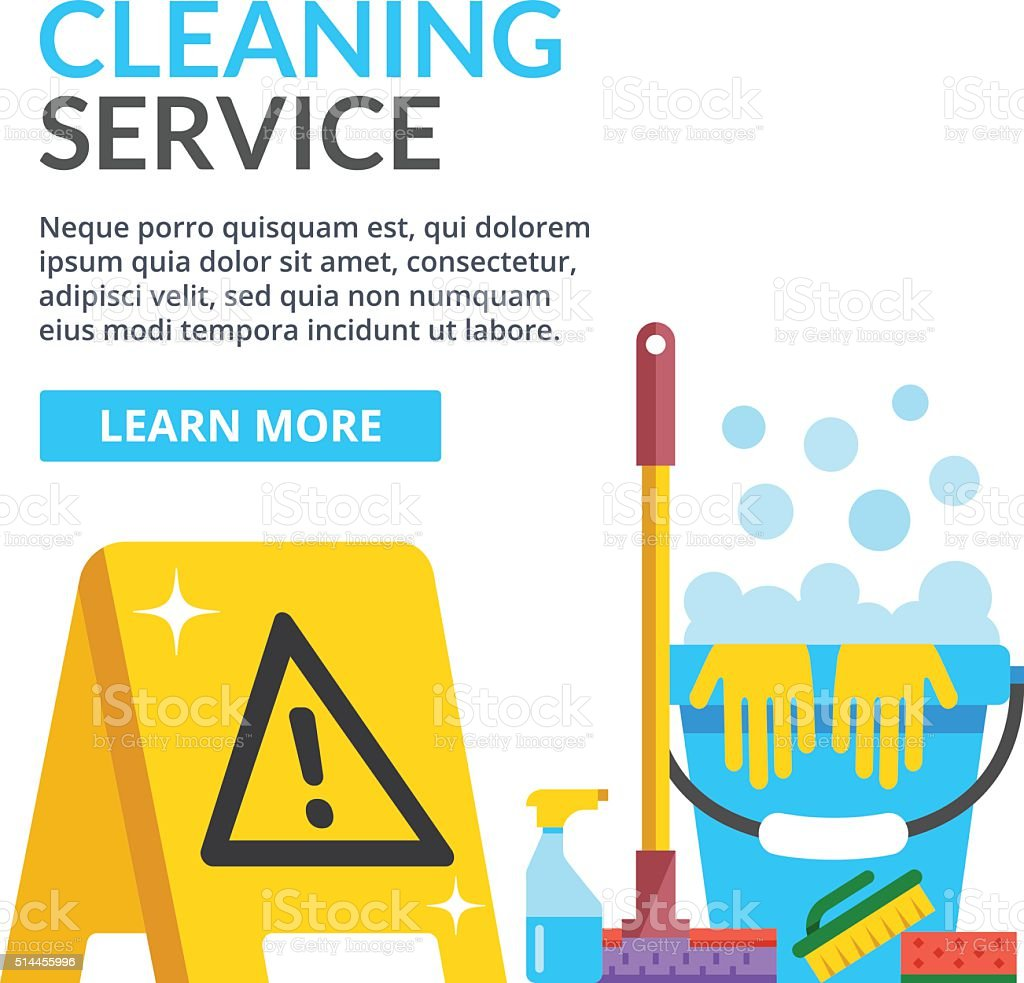 Cleaning service flat illustration. Flat vector illustration vector art illustration