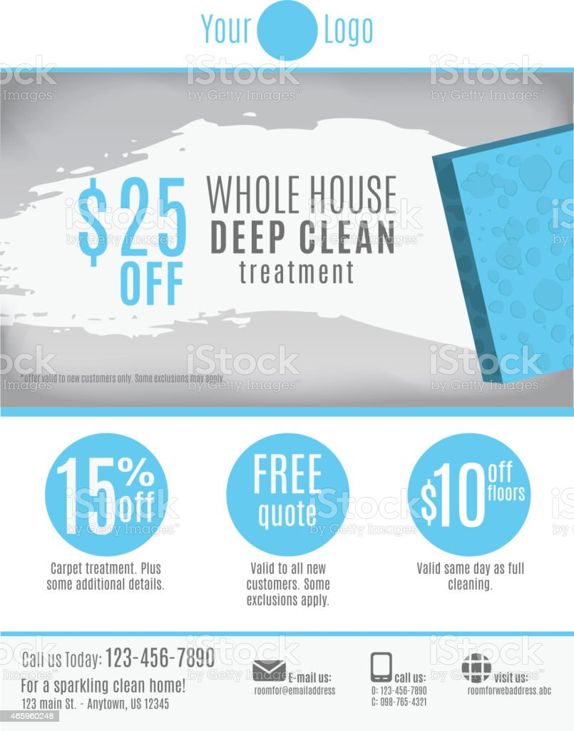Cleaning service flyer template vector art illustration