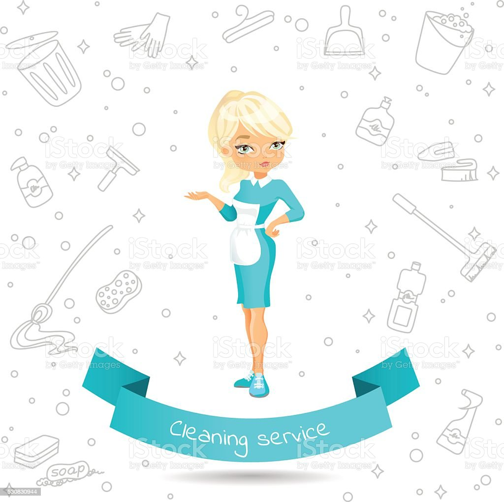 cleaning service girl stock vector art 530830944 istock 1 credit