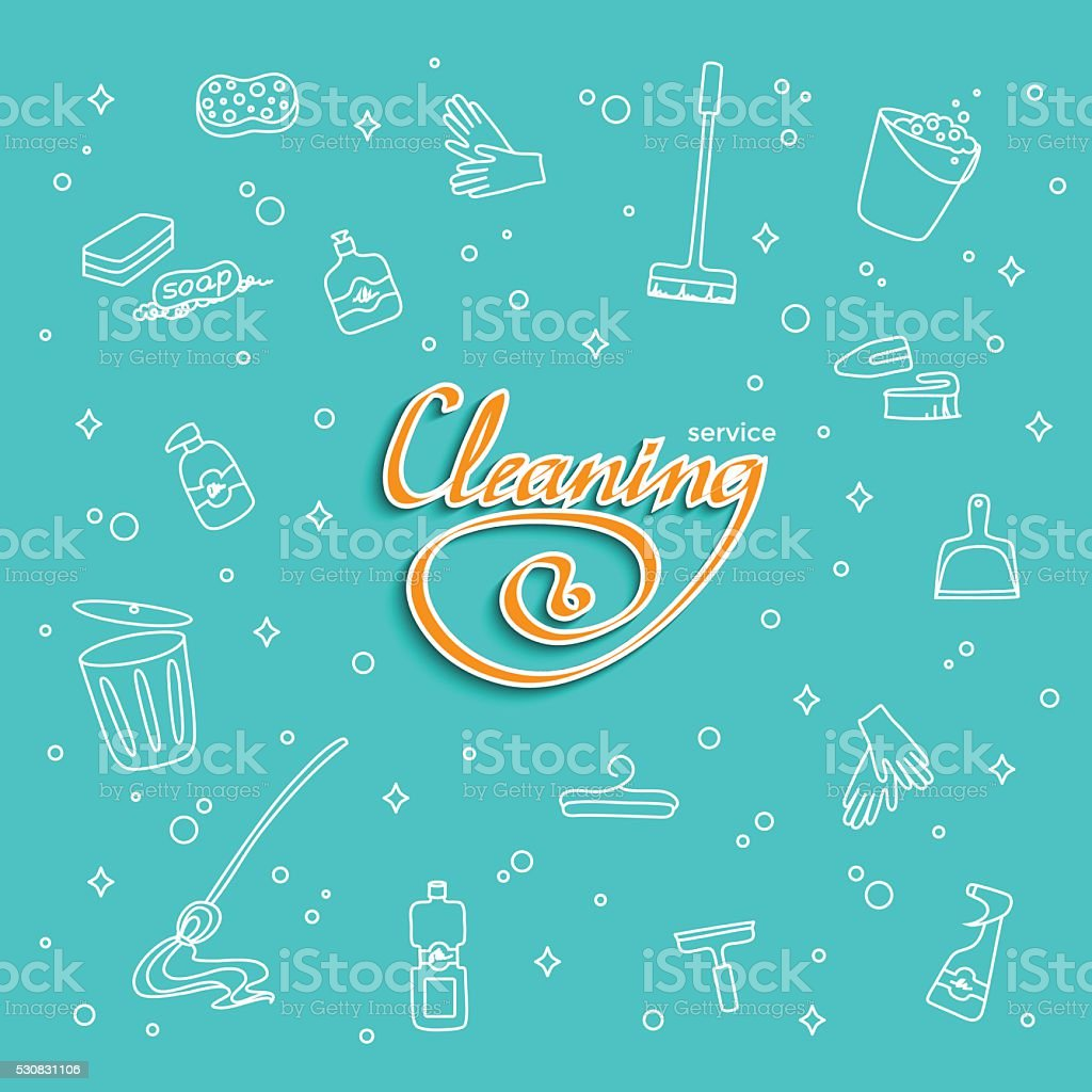 Cleaning service lettering vector art illustration