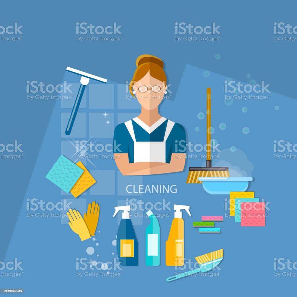 Cleaning service maid house cleaning vector art illustration