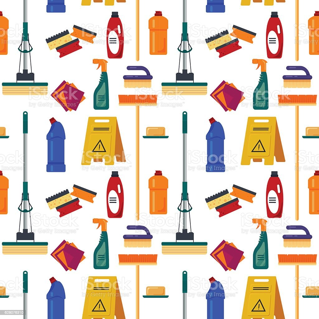 Cleaning service seamless pattern. House tools, flat vector illustration, household vector art illustration